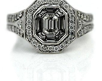 Emerald Cut Engagement Ring 1.35 ctw Vintage Emerlad Cut Diamond Engagement Ring Emerald Cut 14 Kt White Gold Shield Cut Diamond Ring Size 6