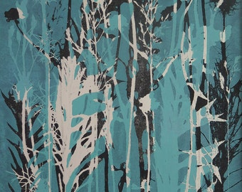 Large fine art Original botanical monoprint Seed heads & grasses Contemporary floral nature print by Stef Mitchell Turquoise