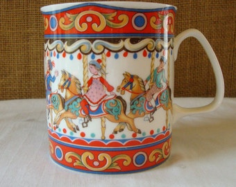 VINTAGE WINDSOR ENGLAND Bone China Carousel Mug Festive Merry Go Round Happy Mug Kids in Colorful Dress Bone China Coffee Cup Tea Cup