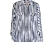 Vintage LEVIS Blue Gingham 1970's Western Work Shirt Mens M Medium Boyfriend shirt