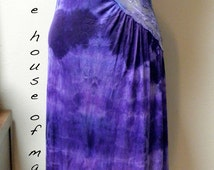 Slip Dress: Upcycled Assymetrical Lace Front Vintage Maxi Shibori Dyed Slip Abstract Print One of a Kind Art Clothing Boho Evening Festival