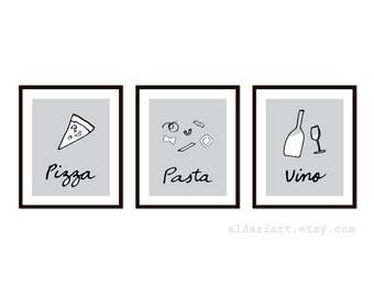 Pizza Pasta e Vino Art Prints - Set of Three Prints - Italian Food Art - Kitchen Wall Art - Home Decor - Gray and Black - Aldari Art