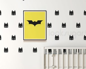 Batman Mask Wall Decal with Wallpaper or Wall Stencil Effect - Superhero Wall Sticker - Children Wall Decal - Bat Decal- LSWP-AP0034NF