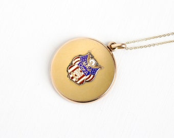 Sale - Antique Daughters of America Locket Necklace - Vintage Gold Shell Early 1900s Edwardian Art Deco Patriotism Enamel Jewelry