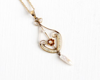 Sale - Antique 10k Yellow Gold Diamond & Seed Pearl Buttercup Necklace - Vintage Lavalier Edwardian Fine 1900s Pendant Pearl Strand Jewelry