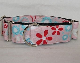 SALE Pink Love Martingale Dog Collar - 1.5 or 2 Inch - white blue teal turquoise flowers floral fun hot hearts sweet cute