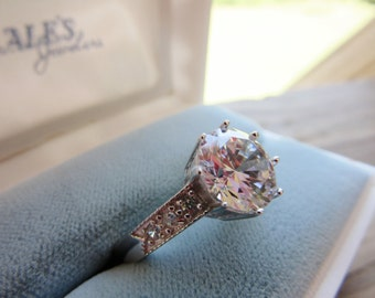 Sale Vintage Sterling Engagement Ring Brilliant Fire and Ice 2KT CZ Center Shank Stone Accent CZ Stones