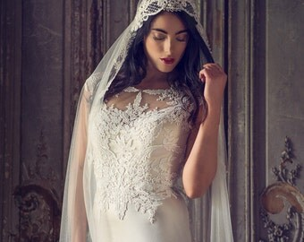 Ivory  juliet Cap Veil ,Vintage Bridal Veil, chapel length veil, waltz lenth veil, Ballet Length Veil, showstopping dramatic Wedding veil
