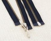 12inch - Navy Metal Zipper - Silver Teeth - Open End - 2pcs