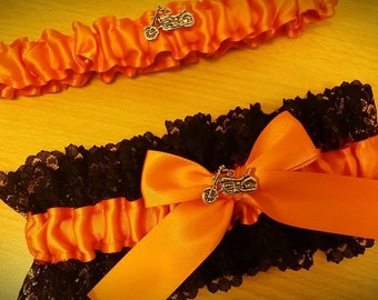 Tangerine orange and black lace motorbike motorcycle Themed Wedding Garter set