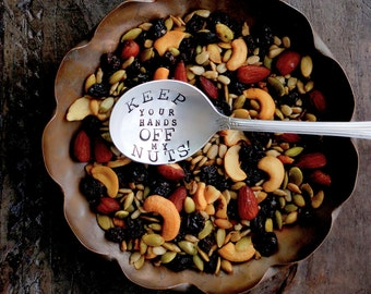 Keep Your Hands Off My Nuts™ Serving Spoon. ORIGINAL Design by Kelly Galanos for Sycamore Hill. Fun, Holiday Tabletop Accessory for Hostess.