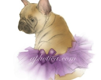 little french bulldog in a purple tutu original art card 4.25x5.5