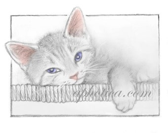 sleepy kitten original art card