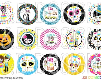 "1"" Bottle Cap Image Sheet - Sugar Skulls - Day of the Dead - Dia De Los Muertos"