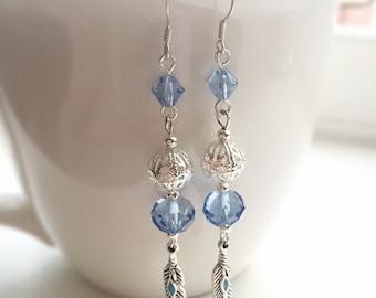 Sky Blue Feather Charm Earrings