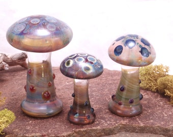 WILD MUSHROOMS Blue Purple Lampwork Borosilicate Art Glass Miniature Curio Cabinet Keepers Desk Sculptures Set of 3  (Free Shipping)