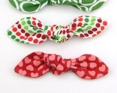 Top Knot Bow Hair Clip, Pony Tail Hair Tie in Green Oval, Red Green Dots, Red Hearts Winter Christmas