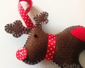 Hand Stitched Felt Reindeer Christmas Hanging Decoration Ornament