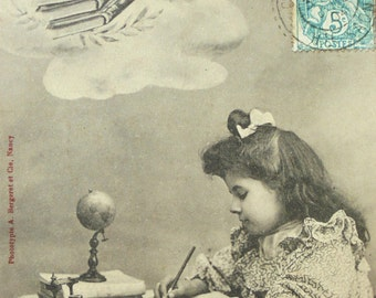 French Antique Postcard - Little Girl Studying 'The Hopeful'
