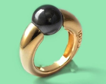 Black ring, Hematite ring, stone ring,unique gemstone ring, gold plated silver, minimalist ring, Hematite  jewelry, statement ring
