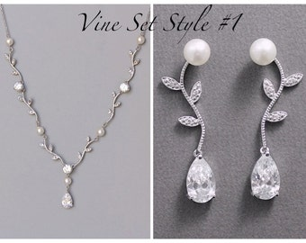 Vine bridal Set, Crystal Jewelry Set, Crystal Necklace and Earrings Set, Vine Wedding Jewelry, VINE PP