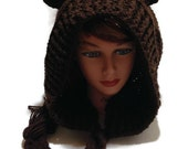 Brown Bear Hood Crochet Pixie Hat Bear Cosplay Hood Crochet Bear Hat Winter Animal Hood