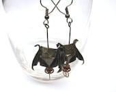 STEAMPUNK origami bat dangle earrings