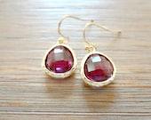 Garnet Drop Earrings. January Birthstone Jewelry. Plum Gold Purple Eggplant Burgundy Bridesmaid Earrings. Simple Small Framed Stone