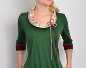 Grüne Trikot Shirt - Bogen - Schalkragen