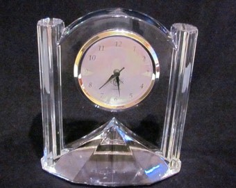 Lenox Quartz Clock Vintage Czech Crystal Mantle Clock Working Excellent Condition Wedding Anniversary Houswarming Gift