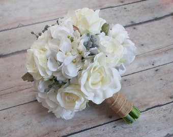 White Rose and Hydrangea Wedding Bouquet with Silver Brunia and Dusty Miller