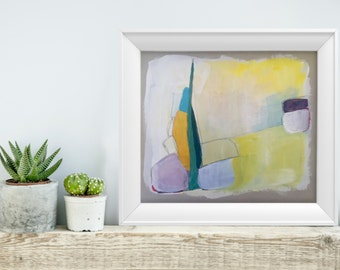 Abstract minimal painting in shades of pastels
