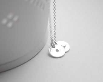 Monogram necklace, tiny disc personalized necklace, monogram, silver, children, mother, bridal, wedding jewelry, gift, bridesmaid