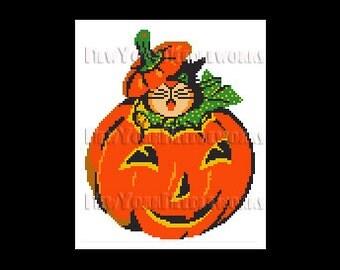 Halloween Cat Cross Stitch, Cat in Pumpkin, Halloween Cross Stitch, Cat Pattern, Cats, Halloween Cats, Halloween Patterns NewYorkNeedleworks