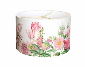 X-LARGE Linen Pink Garden Party Drum Lamp Shade - Shabby Chic Pink Flower Lampshade - 16 17 18 Inch Custom Made to Order Lamp Shade