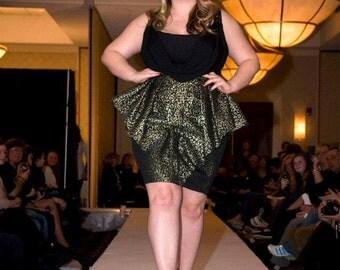 Gold and Black Shimmer Jacquard Skirt