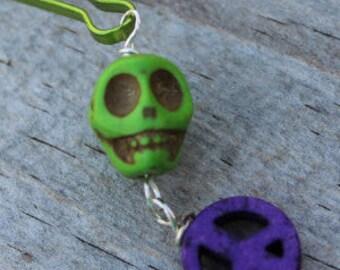 Sugar Skull and Purple Peace Sign Zipper Pull Charm