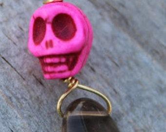 Hot Pink Sugar Skull and Smokey Quartz Zipper Pull Charm