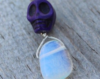 Purple Sugar Skull and Quartz Zipper Pull Charm