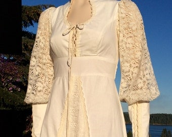 Vintage GUNNE SAX Ivory Crochet Lace Boho Hippie CORSET Wedding Dress S M