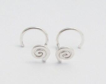 Backless Sterling Silver Stud Earrings. One Piece Post Earrings. Argentium Earrings. Eco-Friendly Earrings. Stocking Stuffer Gift for Her