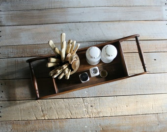 Vintage Wooden Handled Caddy / Tray
