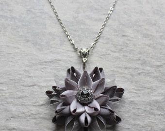 Silver Bridesmaid Necklace, Silver Flower Necklace, Statement Pendant Necklace, Silver Necklaces, Unique Bridesmaid Jewelry, Black Diamond