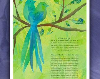 Ketubah - Love Birds in Blue