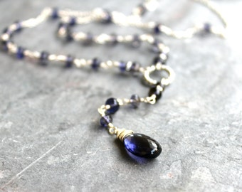 Long Iolite Necklace Blue Gemstone Necklace Sterling Silver Water Sapphire Boho
