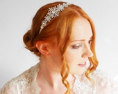 Art Deco Snowflake Winter Side Headband Vintage Style Bridal Hair Accessories Headpiece