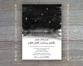 Wedding Invitation, Engagement Party, Rehearsal Dinner Invitation-Under The Stars-Digital Printable File OR Professionally Printed Cards