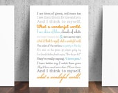 What a Wonderful World Song Lyrics Print - Colors are Customizable