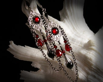 Ox Blood Red Chandelier Victorian Earrings, Crimson Garnet Swag Edwardian Bridal Drops, Antiqued Silver Filigree Titanic Temptations Jewelry