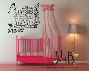Ladybugs wall decal - Ladybugs all Dressed in Red - Nursery, Childrens wall decor